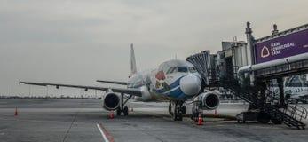Passagiersvliegtuig bij de Luchthaven van Bangkok stock foto's