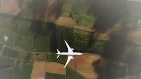 Passagiersvliegtuig die boven wolken hoogste mening 4K vliegen stock illustratie