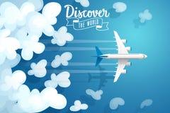 Passagiersvliegtuig die boven wolken, reisaffiche vliegen vector illustratie