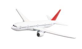 Passagiersvliegtuig op witte achtergrond wordt geïsoleerd die Stock Foto