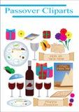 Passahfest-jüdische Feiertagselemente cliparts vektor abbildung