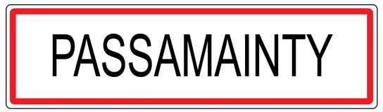 Passamainty-Stadt-Verkehrszeichenillustration in Frankreich Stockfotos