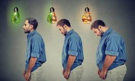Passande slank grabb för ung fet man Arkivfoto
