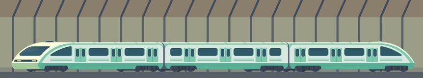 Passanger现代电高速列车 在隧道的铁路地铁或地铁运输 地下火车传染媒介 库存例证