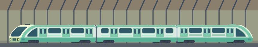 Passanger现代电高速火车 在隧道的铁路地铁或地铁运输 地下火车传染媒介 向量例证
