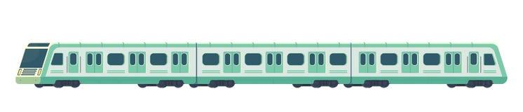 Passanger modern electric high-speed train. Railway subway or metro transport. Underground train Vector illustration. Passanger modern electric high-speed train vector illustration