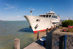 Passanger ship at Badacsony, Lake Balaton, Hungary Royalty Free Stock Images