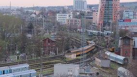 Passanger train leaving the station. BRNO, CZECH REPUBLIC - APRIL 15, 2018: Passanger train passing through the main station of Brno stock footage