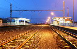 Passanger train station - railroad Royalty Free Stock Image