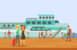 Passangers Boarding A Cruise Liner, Part Of People Taking Different Transport Types Series Of Cartoon Scenes With Happy Stock Images