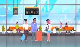 Passangers dans l'aéroport avec des bagages à attendre Hall Or Departure Lounge Images stock