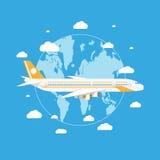 Passangervliegtuig die boven aarde vliegen royalty-vrije illustratie