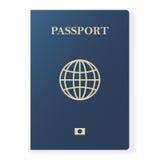 Passaporte azul isolado no branco Original internacional da identificação para o curso Ilustração do vetor Fotografia de Stock Royalty Free