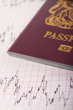 Passaporte BRITÂNICO no impresso de ECG para ilustrar o risco de travar Illne Foto de Stock Royalty Free