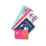 Passaporte com ilustração do vetor dos bilhetes, no fundo Para o projeto das propostas para a venda dos bilhetes ou das viagens Imagens de Stock Royalty Free