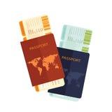 Passaporte com o bilhete da passagem de embarque da linha aérea Ilustração do Vetor