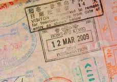 Passaporte com selos de Hong Kong foto de stock royalty free