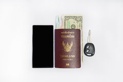 Passaporte do &thailand de Smartphone a viajar Imagem de Stock Royalty Free