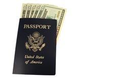 Passaporte dos E.U. e vinte contas de dólar Fotos de Stock