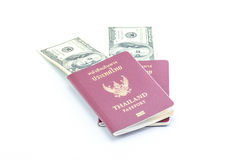Passaporte e dólar Foto de Stock Royalty Free
