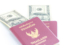 Passaporte e dólar Fotos de Stock