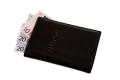 Passaporte e dinheiro pretos Fotos de Stock Royalty Free