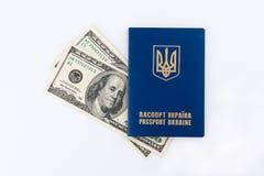 Passaporte e dinheiro ucranianos Imagem de Stock
