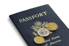 Passaporte e euro Fotografia de Stock