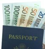 Passaporte e euro Fotos de Stock Royalty Free