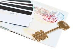 Passaporte extrangeiro com um visto fotos de stock royalty free