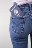 Passaporte no bolso Fotografia de Stock Royalty Free
