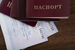 Passaporte nos bilhetes de trem Fotografia de Stock Royalty Free