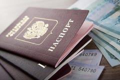 Passaporte nos bilhetes de trem Fotos de Stock Royalty Free