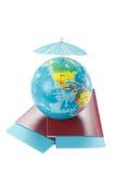 Passaportes, bilhetes, globo do mundo como a Imagens de Stock