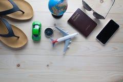 Passaporti dei costumi degli accessori di viaggio Fotografia Stock Libera da Diritti