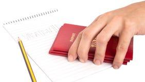 Passaporti e blocco note II Fotografia Stock