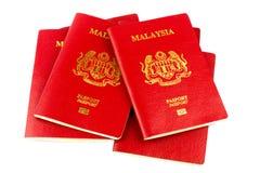 Passaporti malesi su fondo bianco Immagini Stock Libere da Diritti