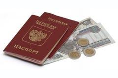 Passaporti russi e soldi egiziani Fotografia Stock