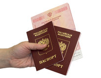 Passaporti in una mano su fondo isolato Fotografia Stock