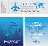 Passaporto, biglietti e visto Fotografia Stock Libera da Diritti