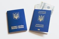 Passaporto biometrico dell'Ucraina con le banconote in dollari su un fondo bianco Fotografia Stock