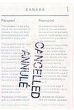 Passaporto canadese annullato Fotografia Stock Libera da Diritti