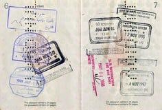 Passaporto canadese con i bolli Fotografia Stock Libera da Diritti