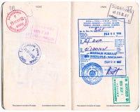 Passaporto canadese con il visto ed i bolli Fotografia Stock