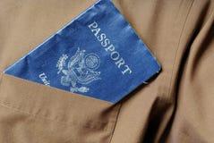 Passaporto in casella Fotografia Stock