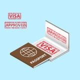 Passaporto con il timbro di visto approvato in un libro Fotografie Stock