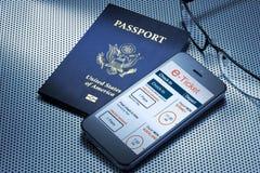 Passaporto del biglietto di viaggio E Fotografie Stock