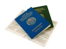 Passaporto del Kirghizstan e di Uzbekistan Fotografia Stock Libera da Diritti