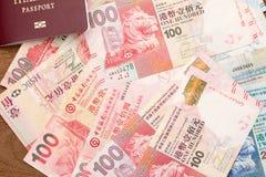 Passaporto della Tailandia con valuta di Hong Kong Immagini Stock Libere da Diritti
