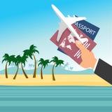 Passaporto della tenuta della mano del ` s dell'uomo d'affari con l'aeroplano sopra la spiaggia tropicale Concetto di viaggio di  royalty illustrazione gratis